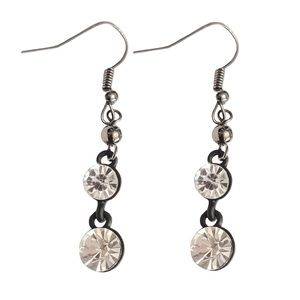 Gunmetal Plated and Crystal Earrings